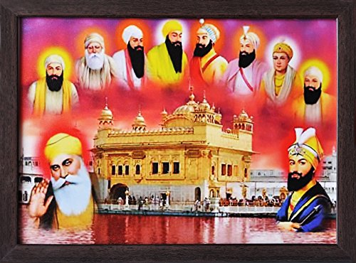 Handicraft Store Guru nanak dev ji and Guru Gobind Singh ji Giving Blessings with Other Eight guru Giving Blessings, Poster Print with framing for Home/Office/Gift Purpose