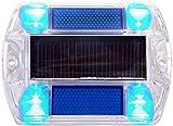 Blue Polycarbonate Solar Road Stud Path Deck Dock LED Lights (2 Pack) For Sale