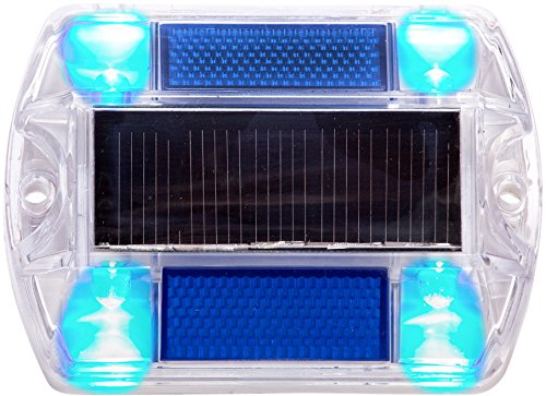 (12 Pack Blue Polycarbonate Solar Powered Outdoor Road Stud Deck Dock Pool LED Light)