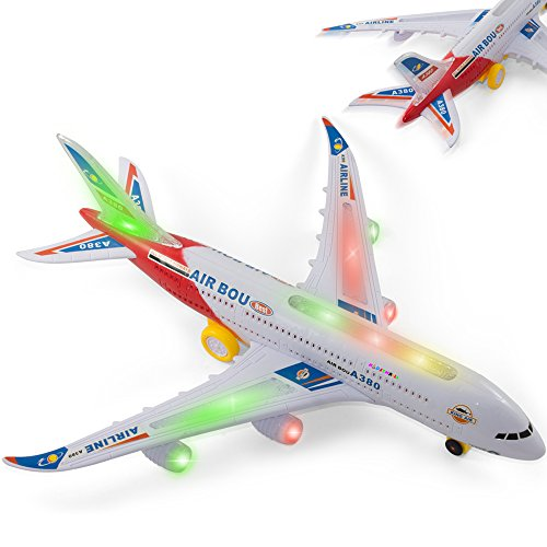 Bump And Go Electric Air Bou A380 Kids Action Airplane - Kidsthrill Big Model Plane With Attractive Lights