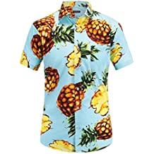 JEETOO Men's Pineapple Floral Short Sleeve Hawaiian Aloha Shirt