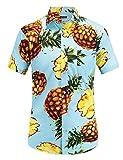 #10: JEETOO Men's Pineapple Floral Short Sleeve Hawaiian Aloha Shirt