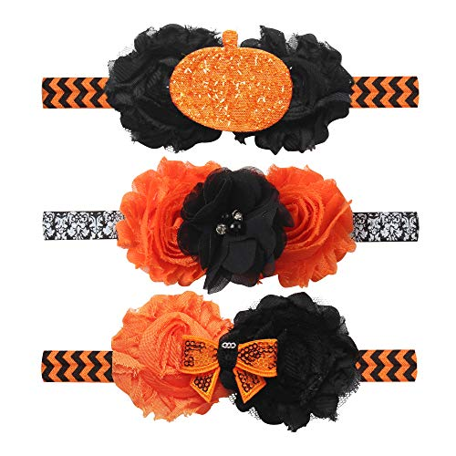(YanJie Baby Girl Halloween Hairband - 3 Pack Elastic Bow Hairbands Photo Props for Baby Holiday Cosplay Costume)