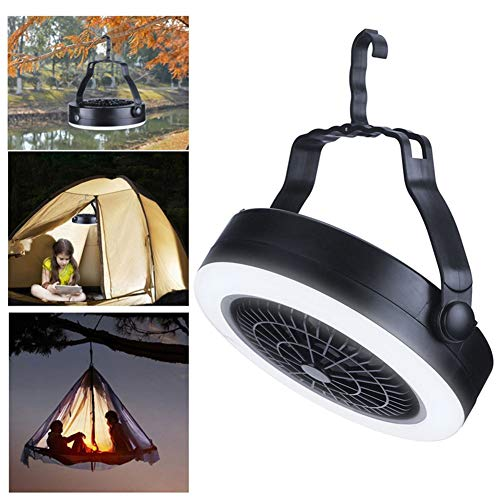 856store Fans Cooling Portable Fan Light USB Rechargeable Outdoor Camping Hanging Tent Lamp Lantern ()