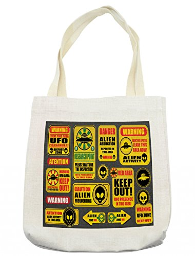 Lunarable Outer Space Tote Bag, Warning Ufo Signs with Alien Faces Heads Galactic Theme Paranormal Activity Design, Cloth Linen Reusable Bag for Shopping Groceries Books Beach Travel & More, Cream by Lunarable