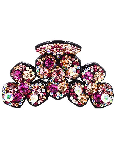 Fancyin New arrival Luxury Crystal Clover colorful rhinestones butterfly hair claw clip for women by Fancyin