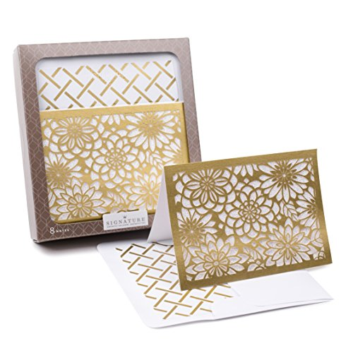 [Hallmark Signature Notecards (Gold Flowers, 8 Cards and Envelopes)] (Laser Cut Note Cards)