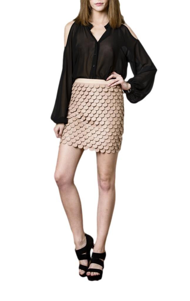 Blaque Label Women's Leatherette Pedals Skirt M Nude