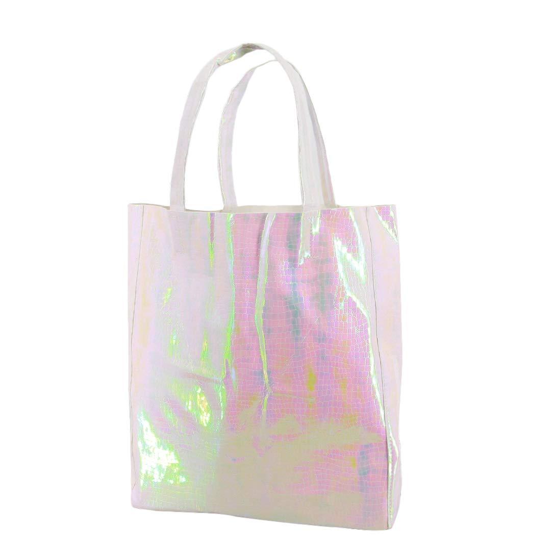Candice Shiny Fashionable Hologram Holographic Tote Bag PU Handbag Shoulder Bag,Big Bag for Gift(Pink)