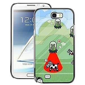 A-type Arte & diseño plástico duro Fundas Cover Cubre Hard Case Cover para Samsung Note 2 N7100 (Cow Abduction Funny Cartoon Conspiracy)