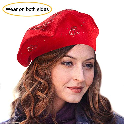 LADYBRO Wool Beret Winter Beret Hats for Women Double Layers Womens Knit Beret Hats (Red-Top Rhinestones)
