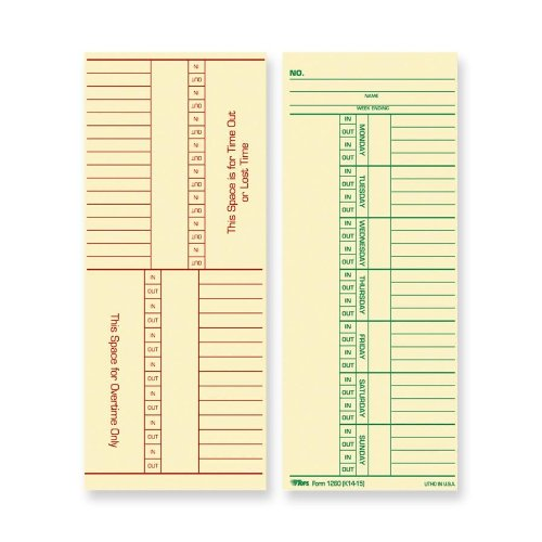 TOPS Time Cards, Weekly, 2-Sided, Named Days, 3-3/8