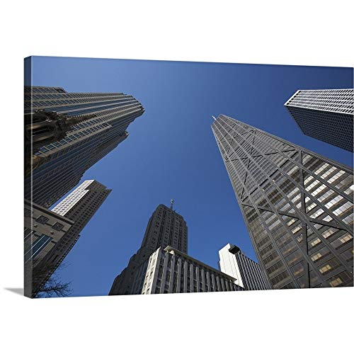 Dennis Flaherty Premium Thick-Wrap Canvas Wall Art Print Entitled Illinois, Chicago. The Hancock Building Surrounded by Other Skyscrapers 18