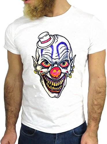 T-SHIRT JODE GGG24 HZ0510 CLOWN COOL VINTAGE ROCK FUNNY FASHION CARTOON NICE AMERICA BIANCA - WHITE M