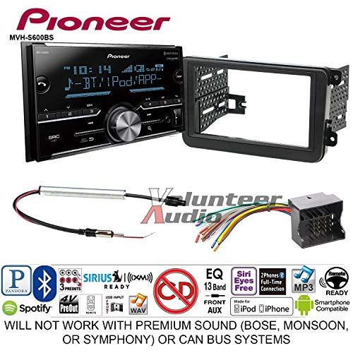 - Pioneer MVH-S600BS Double Din Radio Install Kit with Bluetooth USB/AUX Fits 2012-2013 Volkswagen Beetle, 2010-2013 Golf, 2006-2013 Jetta