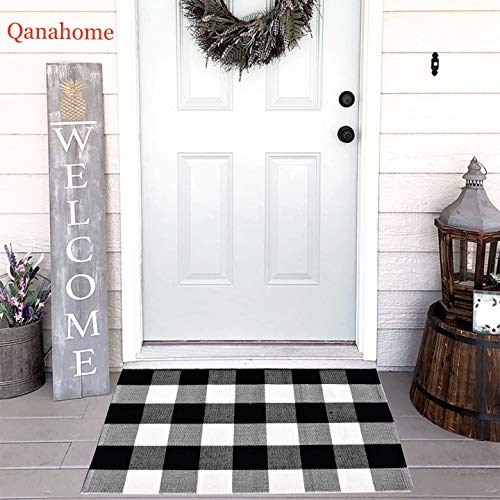 "Cotton Bath Runner Buffalo Check Rug Black and White Plaid Runner Doormat Hand-Woven Checkered Carpet forDoorway/Kitchen/Bathroom/Entry Way/Laundry Room/Bedroom (24"" x35"", B Black and White)"
