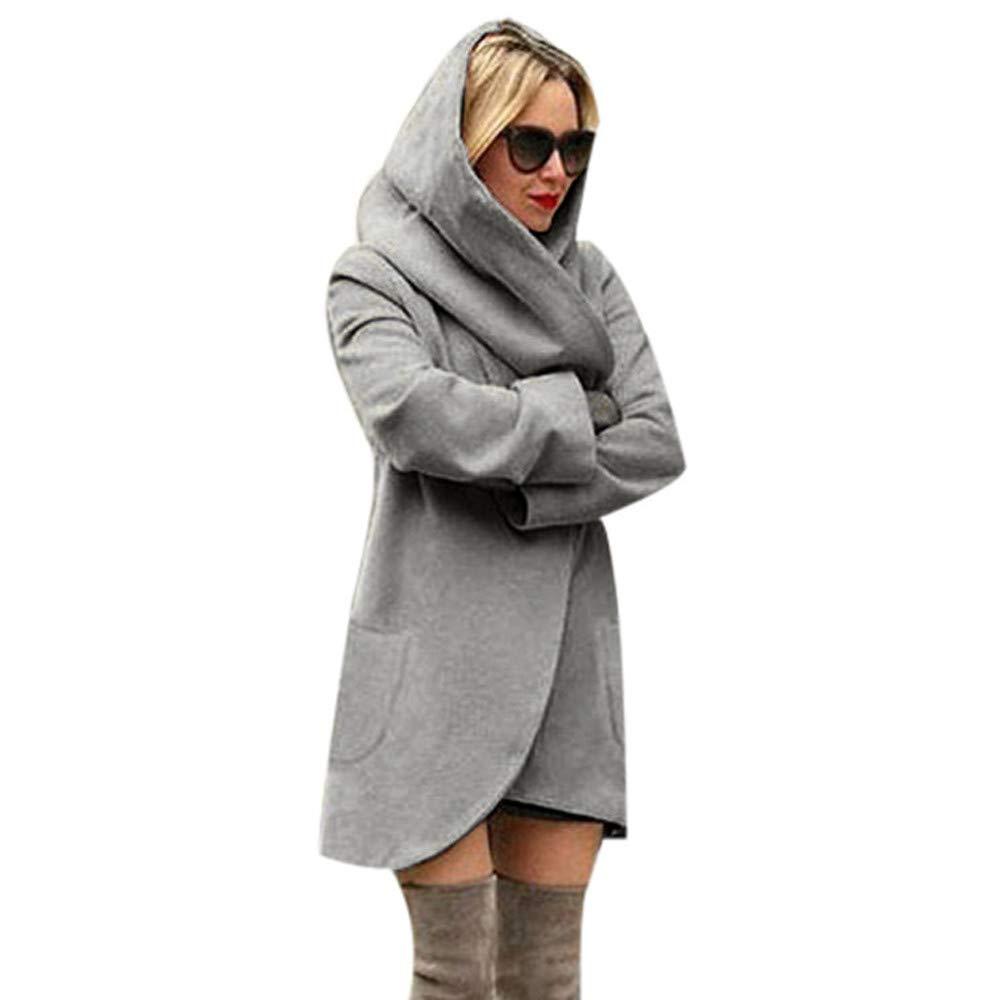 Hanomes Damen Pullover, Frauen Woolen mit Kapuze dünnen Mantel lose Damen Casual Hoodies Jacke Mantel Top