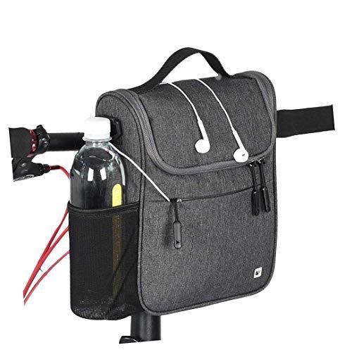 (CamGo Bike Basket Bicycle Handlebar Bag Front Frame Top Tube Storage Bag Mini Shoulder/Hand Bag with Rain Cover (Grey))