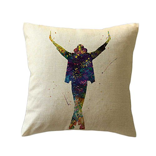 [Gaosaili Watercolor Painted Cotton Linen Throw Pillow Case Cushion Cover, Michael Jackson - 18