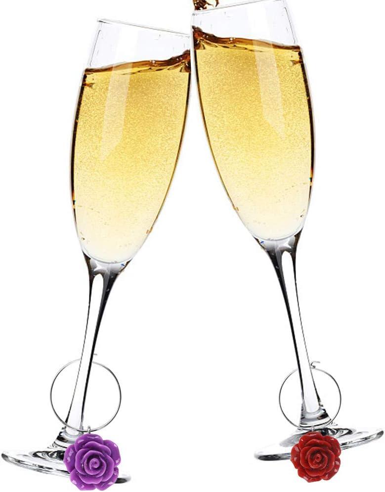 Hileyu 8 St/ücke Rose Glasmarkierer Ringe Weingl/äser Trinken Marker Silikon mit 1 St/ück Blume Weinflaschenverschluss Edelstahl f/ür Party