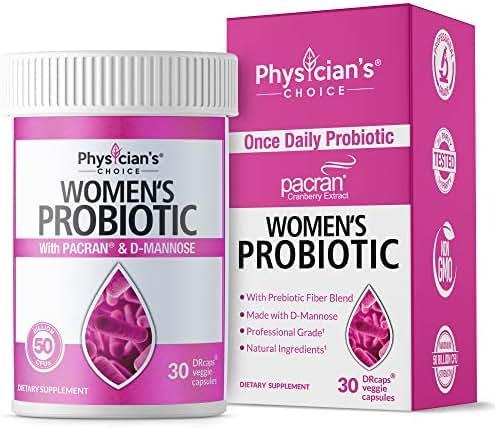 Probiotics for Women - Clinically Proven Pacran - Organic Prebiotics, 50 Billion CFU, D-Mannose & Wholefruit Cranberry for Digestive, Immune, Feminine Health, Soy & Dairy Free, 30 Vegan Capsules