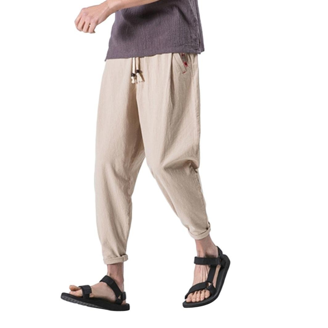 PASATO Men's Casual Slim Sports Pants Ankle-Length Linen Trousers Baggy Harem Pants Trousers(Khaki,XL)