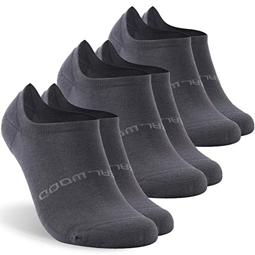 Running Socks Men, ZEALWOOD Low Cut Cushion Single Tab Running Socks,3 pairs-dark grey-no show c-bamboo ()