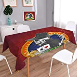 L-QN Square Solid Tablecloth Background with Dead Skeleton Poker King Gambler Vegas Smart Game Graphic Multicolor Table Cover 60''x84''
