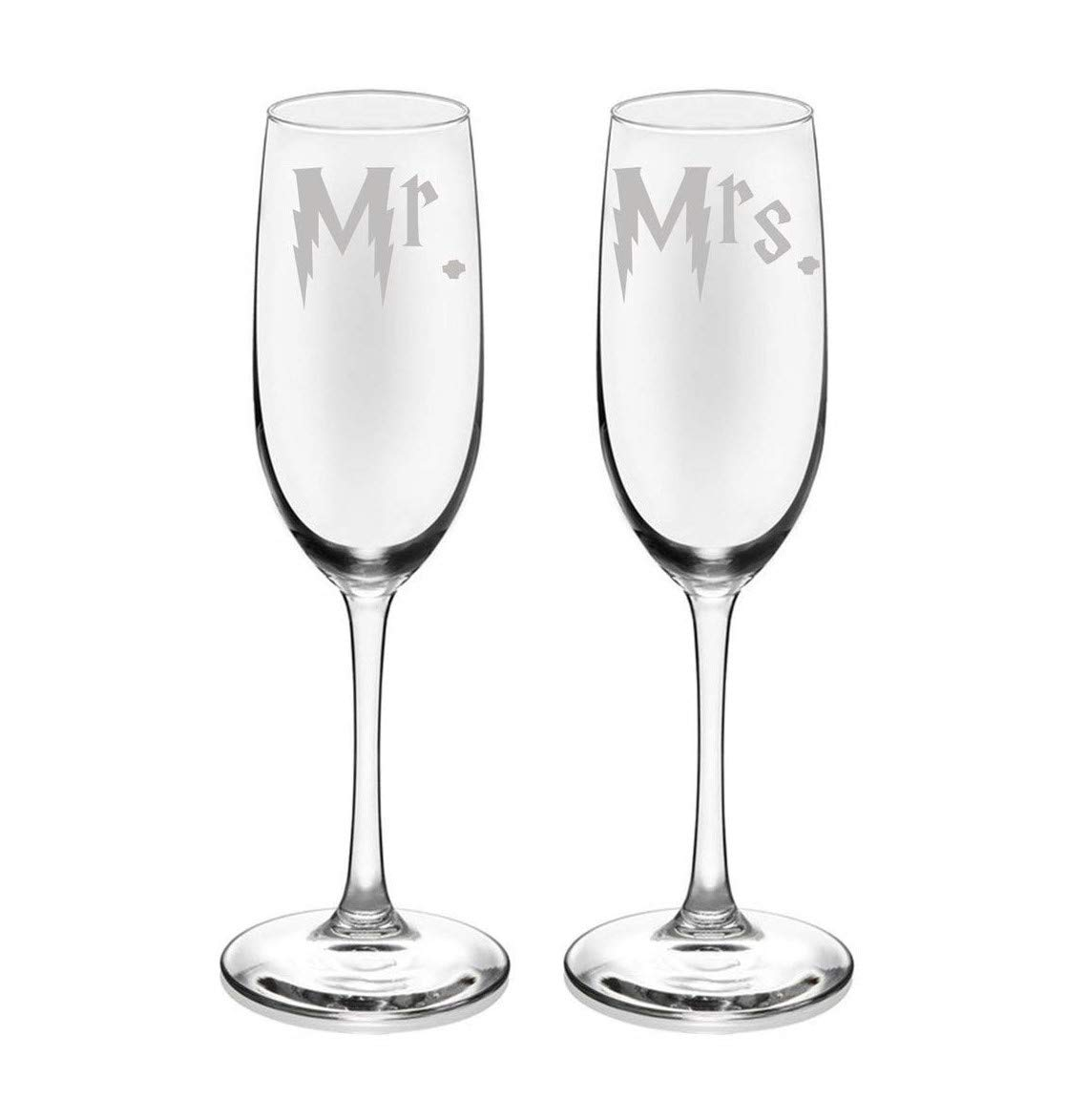 Harry Mr. and Mrs. Etched Champagne Flute Set of TWO Wedding Gift Glassware (Potter Wedding Gift