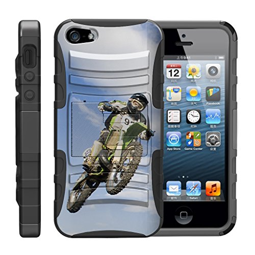 (TurtleArmor | Compatible for Apple iPhone SE Case | iPhone 5/5s Case [Hyper Shock] Armor Solid Kickstand Impact Silicone Holster Clip Sports Video Games Design - Motocross Bike)