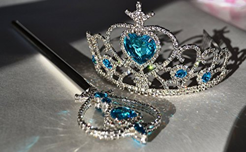 Ice Princess Frozen Snow Elsa Tiara Crown & Wand, Silver Plated, Crystal Stones