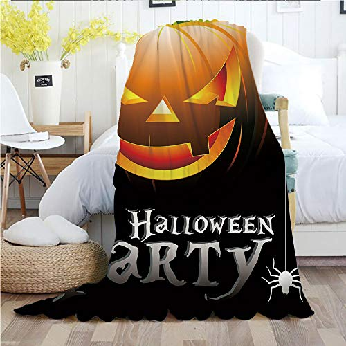 (Halloween,Throw Blankets,Flannel Plush Velvety Super Soft Cozy Warm with/Halloween Party Theme Scary Pumpkin on Abstract Modern Backdrop Spider Decorative/Printed Pattern(50