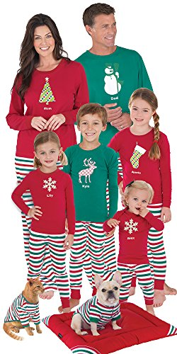 Red and Green Holiday Stripe Matching Pajamas for the Whole Family, 18 Months