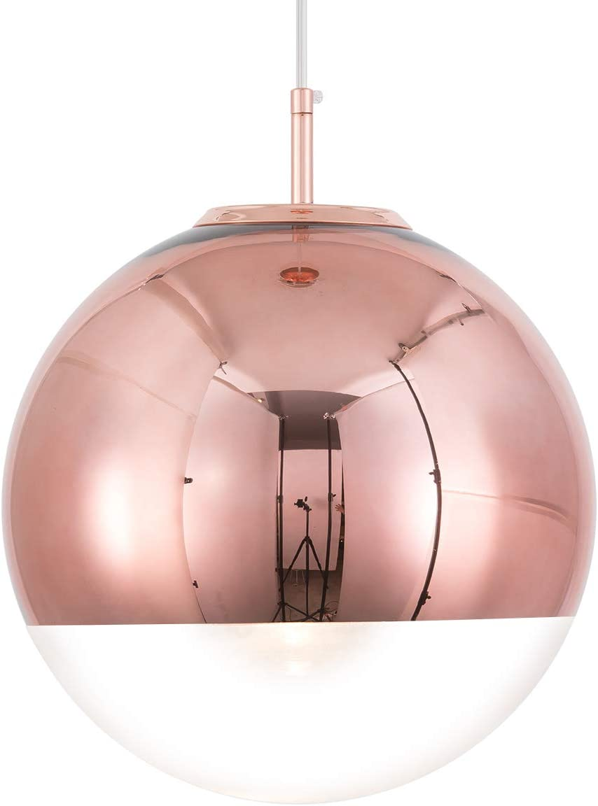 Mzithern Modern Mini Globe Pendant Lighting with Handblown Clear Glass,Glass Mirror Ball Pendant Lamp for Living Room Kitchen Island Hallways Bedroom Bar Cafe Copper 10 Inch