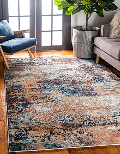 Unique Loom Mystic Collection Abstract Rustic Vintage Brick Red Area Rug (8' x 10')