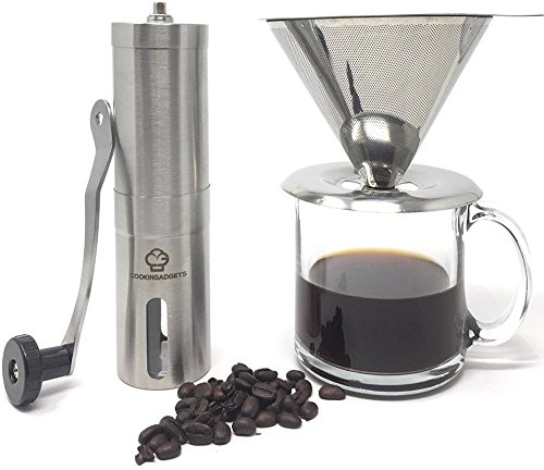 CookinGadgets Manual Coffee Grinder & Pour Over Dripper | Adjustable Conical Ceramic Burr Mill for Precision Brewing | Paperless Reusable Drip Filter Fits Most Cups | Bonus Travel Bag & Cleaning Brush