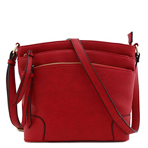 Triple Zipper Pocket Medium Crossbody Bag Red
