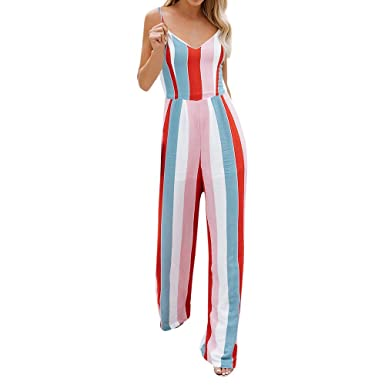 a39d32bc5975 Amazon.com  Dainzuy Rompers for Women Casual Summer V Neck Sleeveless Bow  Knot Multicolor Stripe Jumpsuits Playsuits  Clothing