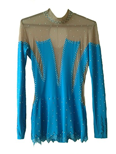 Gymnastics Rhythmic Costumes (Rhythmic Gymnastics Leotard Handmade DMC Crystals Тurquoise)