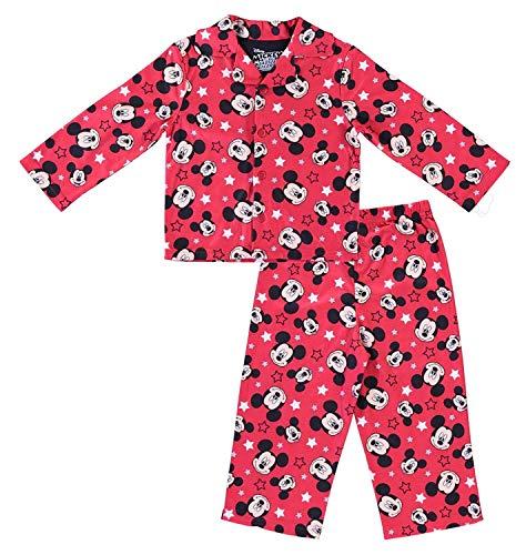 Disney Boys Mickey Mouse Pajamas - 2-Piece Long Sleeve Pajama Set (Red, 18M)