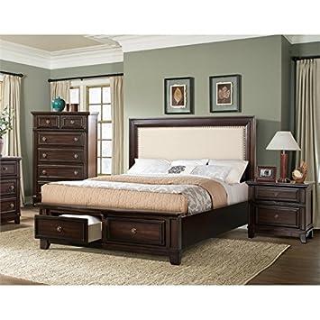 Amazon.com: Elements Harland 3 Piece King Bedroom Set in Espresso ...