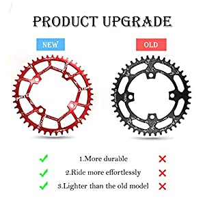 MOTSUV 104BCD Chainring 40T 42T 44T 46T 48T 50T 52T?Not Fall Off? Narrow Wide Chain Ring with 5 Pieces Sprocket Bolts for Road Bike,Mountain Bike,BMX Bike,MTB Bike Parts (Color: Red, Tamaño: 44T)