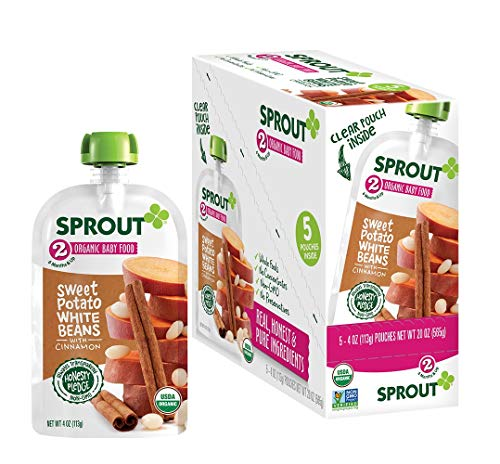 Sprout Organic Baby Food Pouches Stage 2 Sprout Baby Food, Sweet Potato White Bean with Cinnamon, 4 Ounce (Pack of 5); USDA Organic, Non-GMO, Made with Whole Foods, No Preservatives