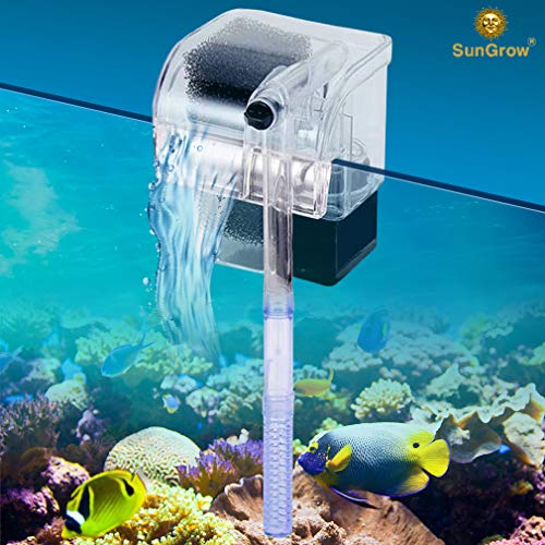 SunGrow Small Power Filter - 3-in-1 Filtration System - Hang on The Back - High-Performance Biochemical Cotton Filter - 100-240 V - Adjustable Flow Rate up to 66 GPH (Adjustable Flow Filter)