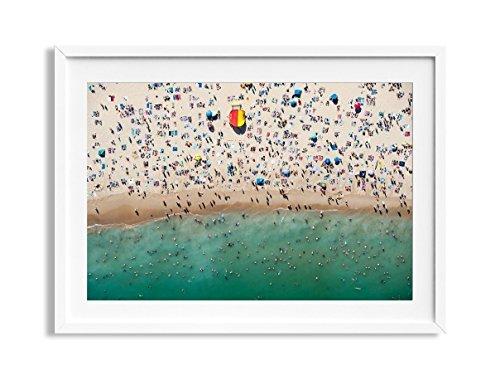 30x42'' Framed Extra Large ''Bondi Rescue'' Bondi Beach Australia Aerial Beach Photography Print by Daydrift