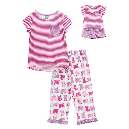 Dollie & Me Little Girls' 3pc Sleep Set, Pink/Purple, (Dolly And Me Pajamas)
