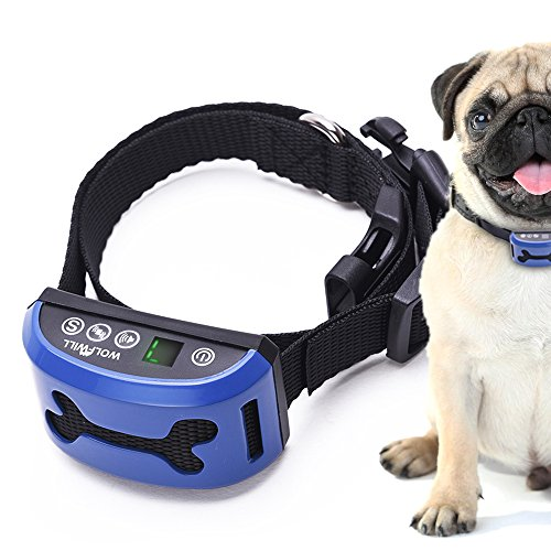 No Shock Humane Anti Bark Control Collar By WOLFWILL – 7 Sensitivity Levels Rechargeable Waterproof Digital Display Beep Vibration for 15-150lbs Dogs