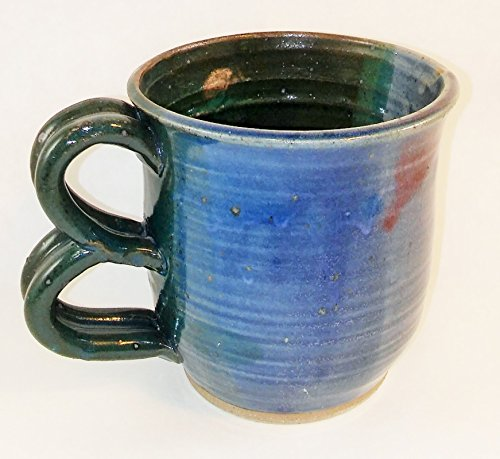 Aunt Chris' Pottery - Hand Made Clay - Double Loop Handle Drinking Mug (Cup) - Blue, Green, Red Colored With Shiny Glaze Finish - Medium Sized Mug - Microwave, Oven And Dishwasher Safe (Pottery Barn Teapot)
