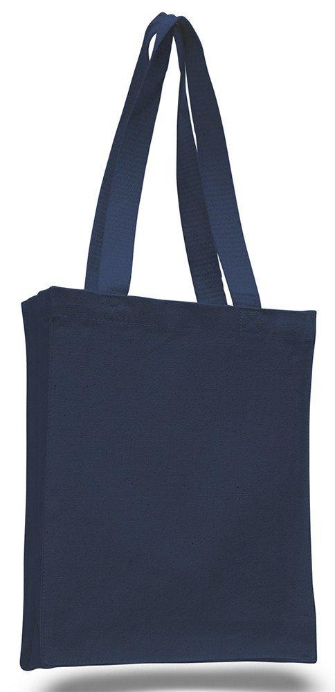 14パックプロモーション価格耐久性コットンキャンバスBook Bag w / Gussetアートクラフト空白トートバッグ One Size ブルー B01DYNOWSA  ネイビー
