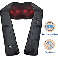Etekcity Rechargeable Lower Back Shoulder Massager, Cordless Neck Shiatsu Heat Massager Deep Tissue Massage Roller, Relieve Muscle Soreness, Lessen Chronic Neck and Shoulder Pains (Quiet, Powerful)